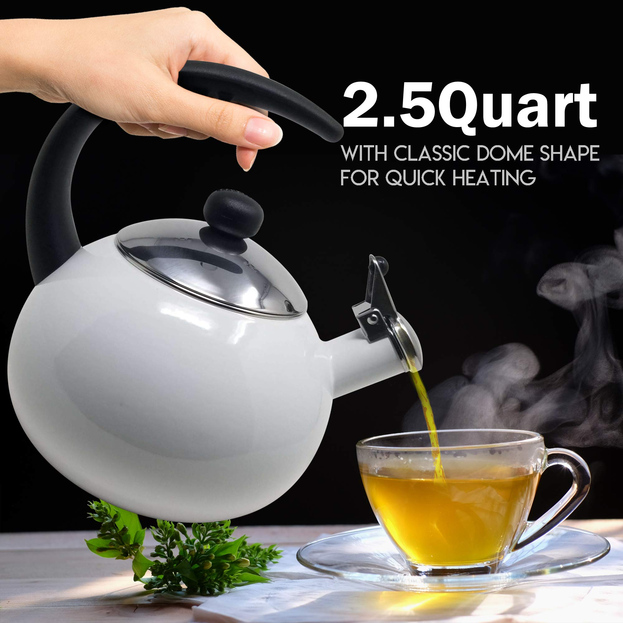 Farberware Luna White Porcelain Enameled Food Grade 18/8 Stainless Steel Soft Whistle Anti- Hot and Anti-Rust TEA KETTLE with Soft Grip Handle Flip Up Spout Heavy Gauge STOVETOP POT 2 QT. by Alfay (Image #5)