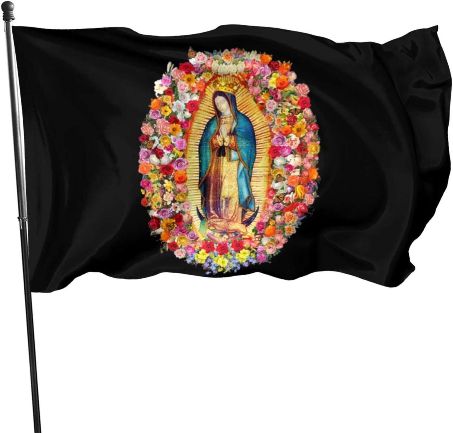 Voglawear Custom Garden Flag with Our Lady of Sorrows Catholic 3x5ft Outdoor Decorative Garden Banner Black