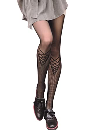 PATTERNED TIGHTS Womens Sheer Black Tights With Criss Cross Design Stunning Women's Patterned Tights