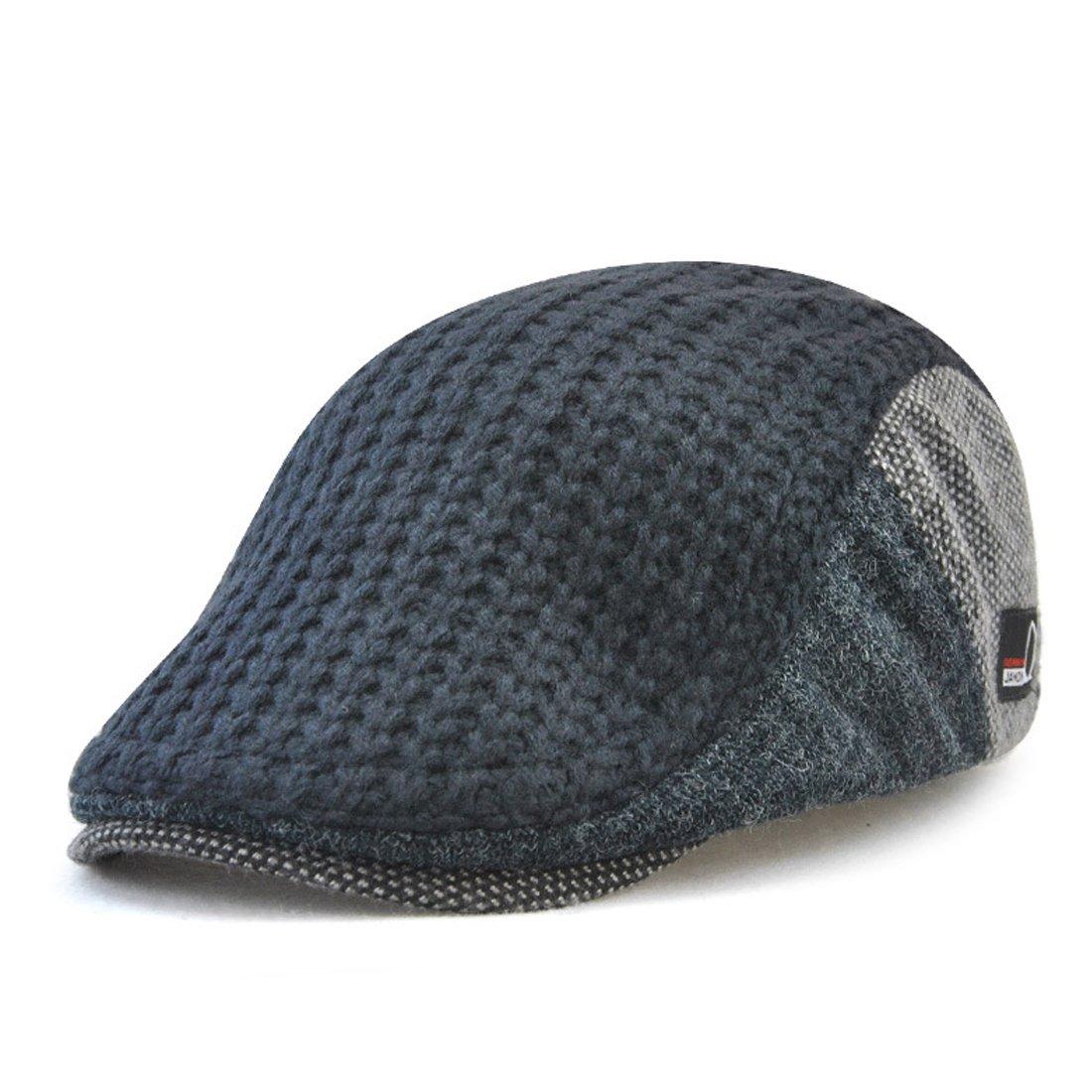 King Star Men's Knitted Wool Duckbill Hat Warm Newsboy Flat Scally Cap H8288-1