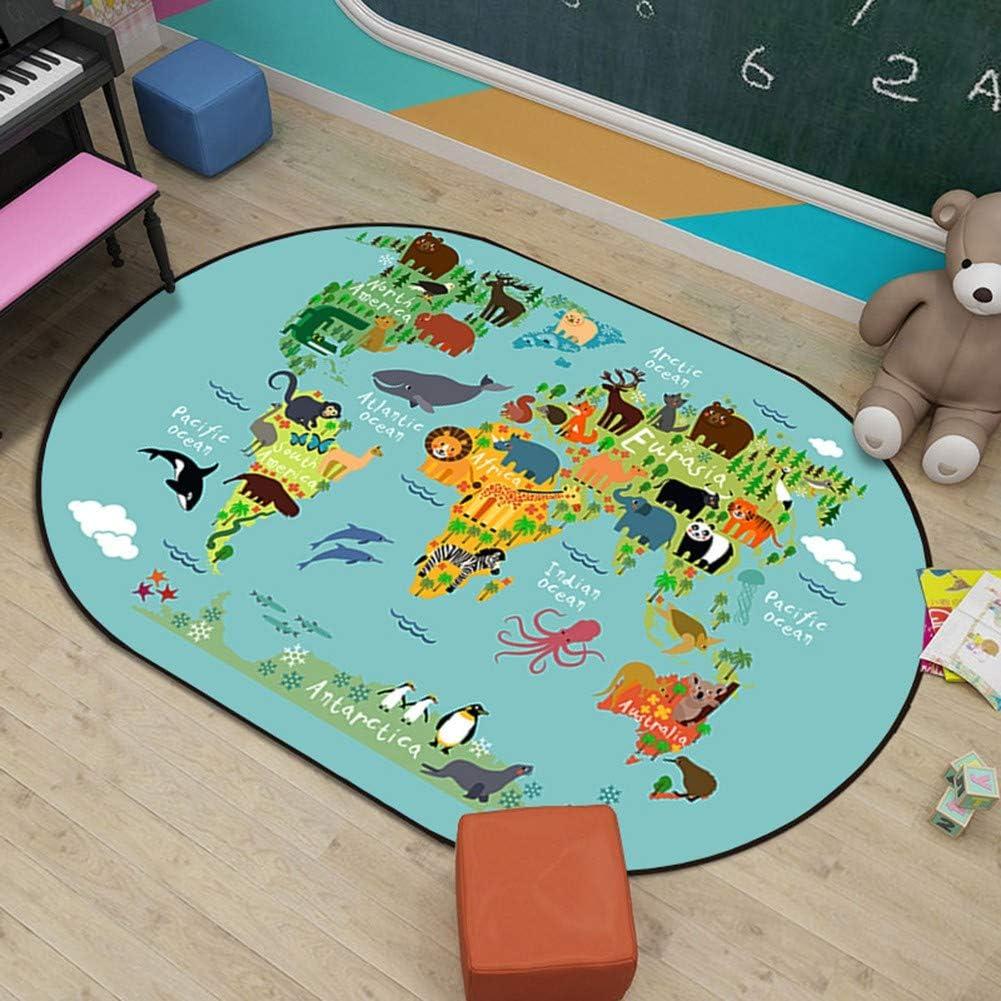Massage-AED Alfombra de Juego para niños Elíptica Animal de Dibujos Animados Habitación para niños Dormitorio Alfombra de jardín de Infantes Alfombra de Escalada para bebés Regalo Ideal 6MM: Amazon.es: Hogar