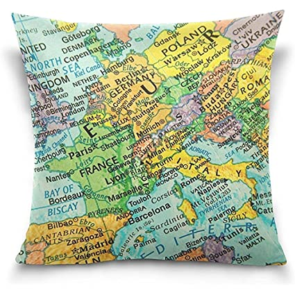 Amazon.com: Johnnie Vintage Map Europe Square Throw Pillow ...