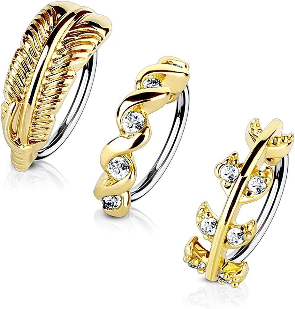 MoBody 3-Pack 20G Nose Ring Piercing Hoop Paved CZ Crawler Surgical Steel Cartilage Earring Set (8mm)