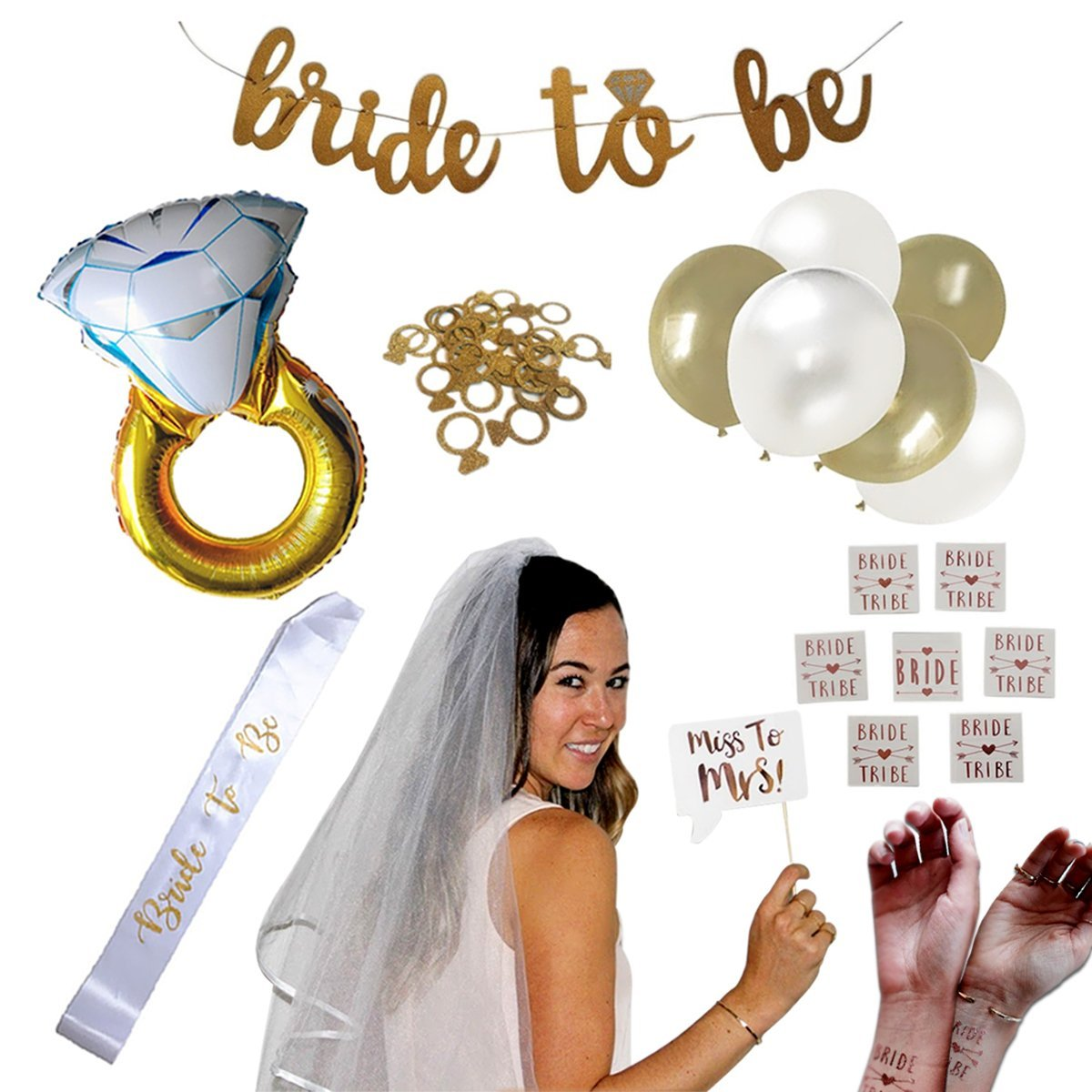 Complete Bachelorette Party + Bridal Shower Decoration Set! Supplies Incl. Ring Foil Balloon, Bride Tribe Flash Tats, Bachelorette PhotoBooth Props, Gold Banner, Veil, Sash, Ring Confetti, Balloons