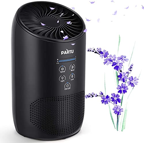 PARTU HEPA Air Purifier - Smoke Air Purifiers for Home with Fragrance Sponge - 100 Ozone Free, Lock Set, Eliminates Smoke, Dust, Pollen, Pet Dander, Available for California