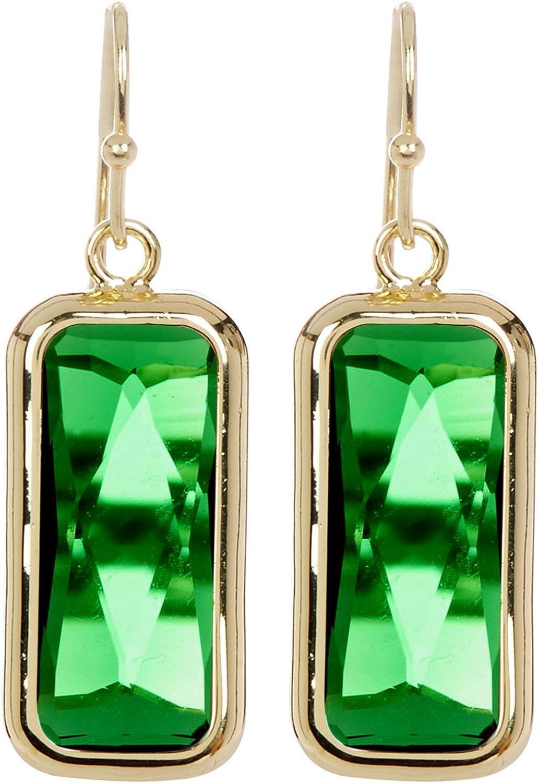 Pendientes de gota de cuarzo esmeralda rectangulares dorados