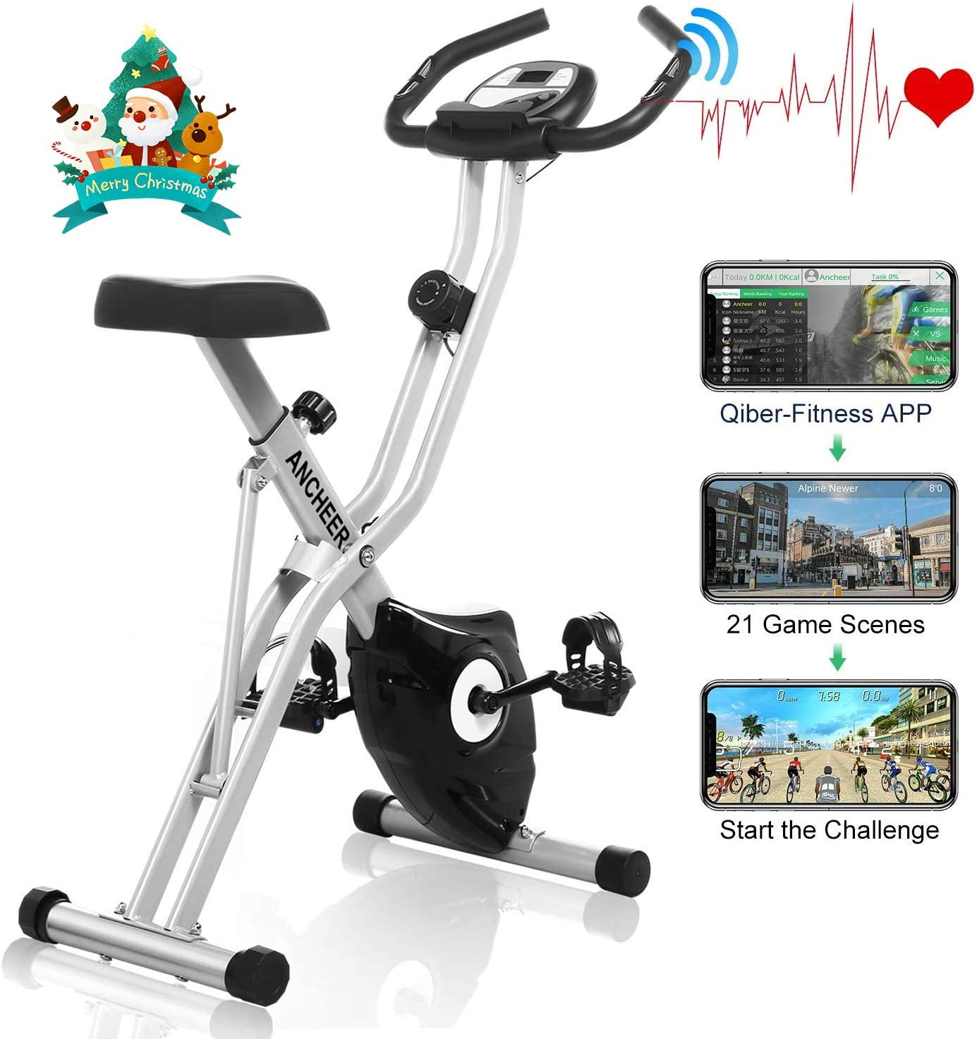 ANCHEER Folding Exercise Bike with APP Simulation Game, Magnetic Upright Bike with 10-Level Resistance & Tablet Stand & Large and Comfortable Seat