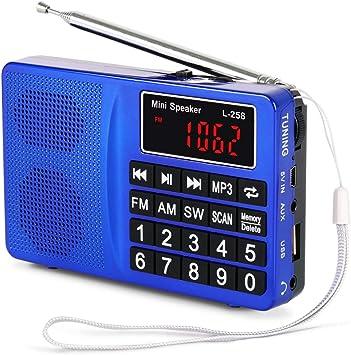 PRUNUS L-258SW Radio portatile SW/FM/Am(MW)/ SD/TF/USB(0-64 GB) MP3 con altoparlante(Ojo: No se Puede memorizar Las emisoras manualmente)