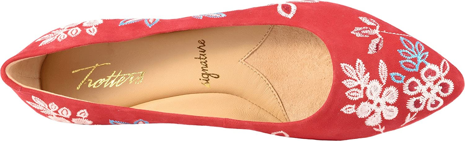 Trotters Women's Estee Embroidery Ballet Flat B073C29QSD 9 W US Red