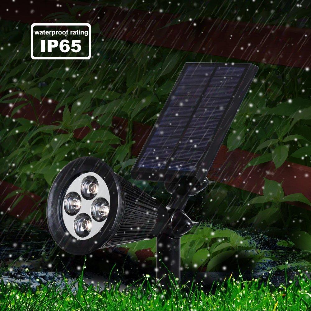 LED Solar Spotlight, T-SUNRISE 4 LED Solar Lights, IP65 Waterproof Landscape Light Security Lighting Dark Sensing Auto On/Off, Adjustable for Tree, Patio, Yard, Garden, Driveway, Stairs, Pool Area (4P by T-SUNRISE (Image #5)