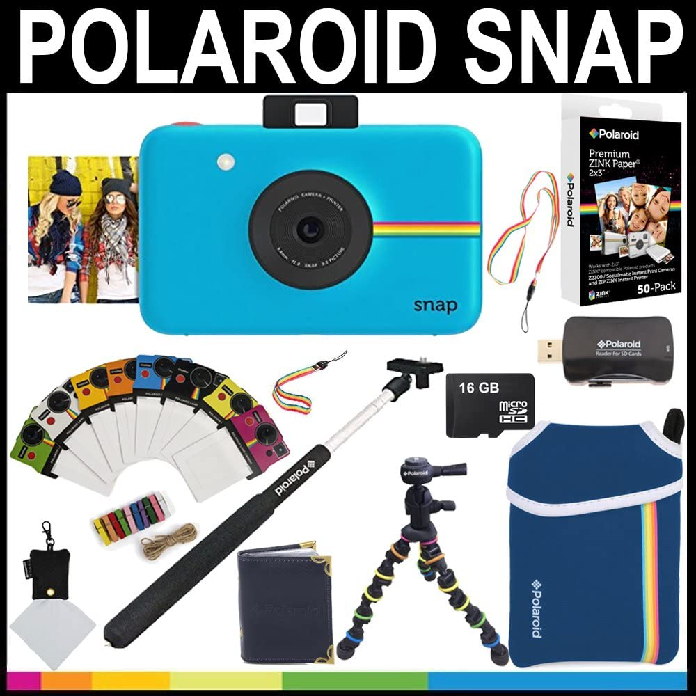 Selfie Pole Accessory Bundle 16GB Memory Card Photo Album Polaroid Snap Instant Camera Photo Frames + Neoprene Pouch + 2x3 Zink Paper Red 50 Pack