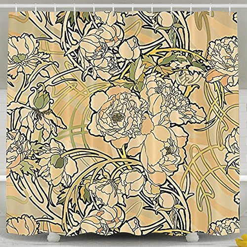 Alphonse Mucha Shower Curtain Mothers Day Gift Art Nouveau Floral Bathroom Decor Curtain 60 X 72 Inches