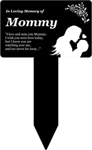 OriginDesigned in Loving Memory of Mommy - Engraved Memorial Stake with Poem and Illustration (Gold/Silver/Copper or Black & White Plaque) (Black & White)