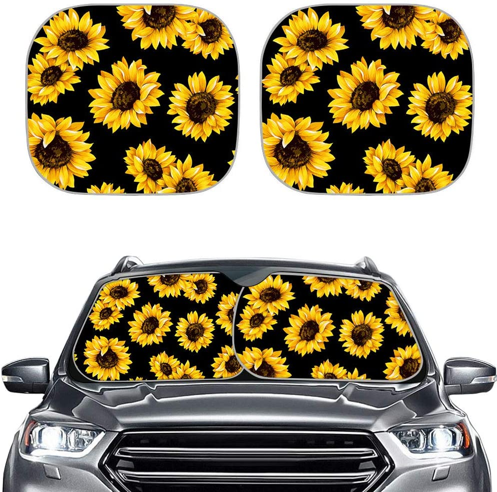 MSD Car Sun Shade Windshield Sunshade Universal Fit 2 Pack Image ID: Sunflower Field in Sunny Summer Day Image 23022946 Stain Resistanc Protect Car Interior Block Sun Glare UV and Heat