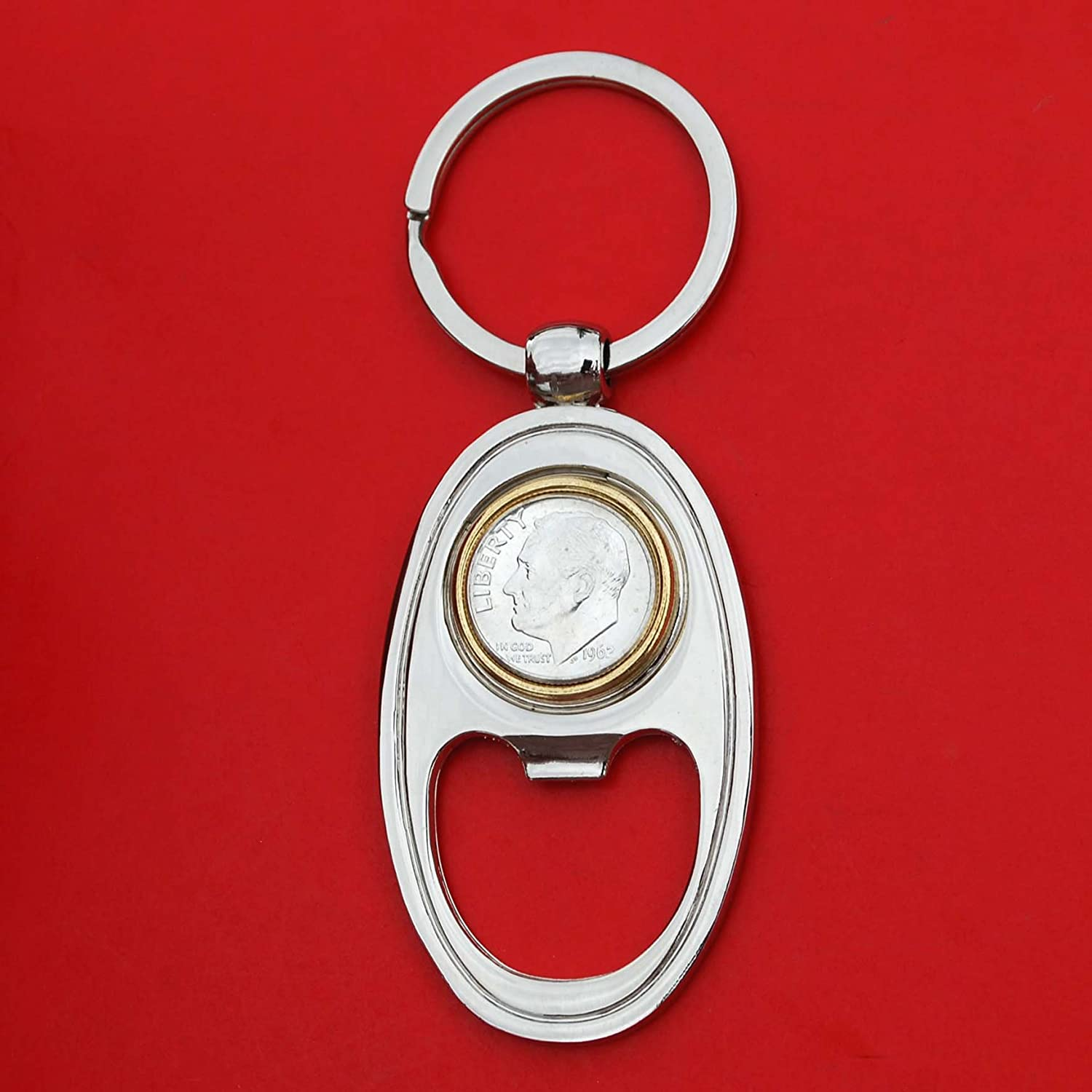 US 1962 Roosevelt Dime 90/% Silver 10 Cent Gem BU Uncirculated Coin Gold Silver Two Tone Key Chain Ring Bottle Opener NEW