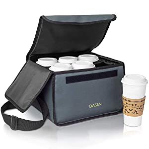 Insulated Portable Drink Carrier, Reusable Coffee Cup Holder with Shoulder Strap, Portable Cooler Bag Food Delivery Take Out Containers, Hot Cold Beverages Insulated Bag Lunch Small Pizza Food Dish Transport with Dividers