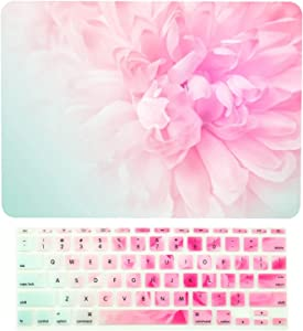 "TOP CASE - 2 in 1 Signature Bundle Floral Pattern Rubberized Hard Case + Keyboard Cover Compatible MacBook Air 11"" (11"" Diagonally) Model: A1370 / A1465 - Pink Peony on Turquoise Base"