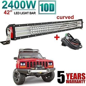 42Inch 3360W 2-Rows LED Work Light Bar Spot Flood Combo Offroad Fog Lamp SUV ATV