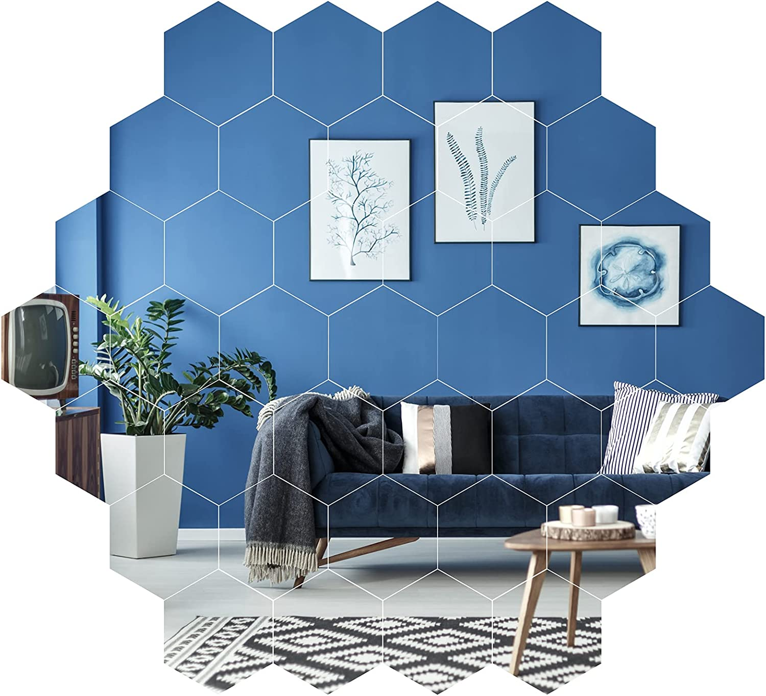 Aneco 36 Pieces Mirror Wall Stickers Removable Acrylic Mirror Self Adhesive Hexagon Wall Sticker DIY Mirror Wall Decal for Home Living Room Bedroom Decor, Silver