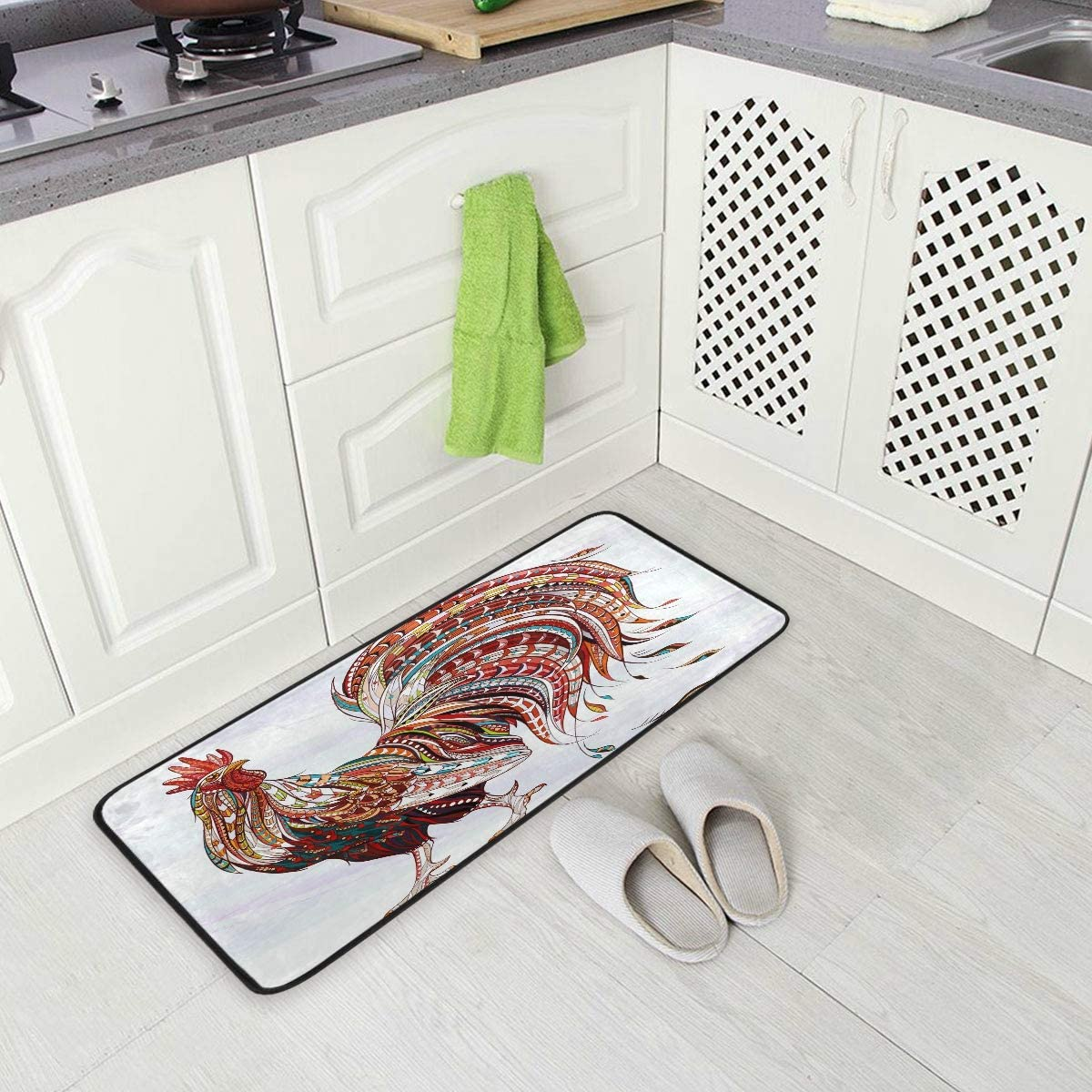 Boho Rooster Colorful Feather Kitchen Floor Mat, Non-Slip Comfort Office Standing Cushioned Rug Home Decor Indoor Outdoor, 39