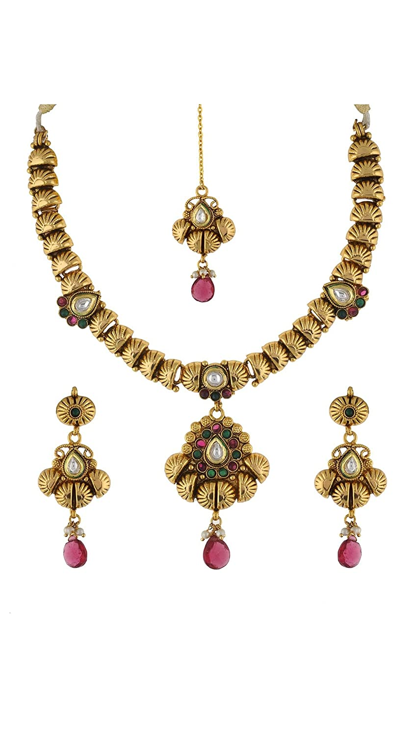 Buy VAMA FASHIONS-Antique-gold-plated-Fancy-Trendy-Short-Necklace
