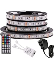 5M RGB LED Strip Lights, 12V 5050 300LEDs Strips Full Kit, Self Adhesive + 44 Key Ir Controller + AU Power Supply (Waterproof)