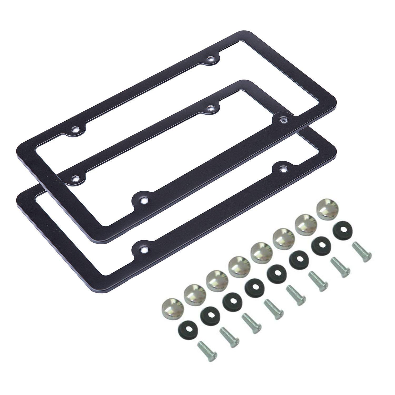 Black 4 Holes Yuzlder 2pcs Aluminum Alloy License Plate Frame with Screws Screw Caps and Screwdriver