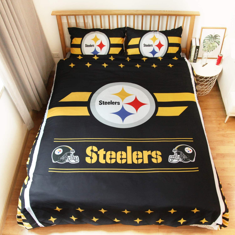 "LEMOISTARS NFL 3 Piece Full/Queen/King Size Quilt Duvet Cover Comforter and 2 Sham Pillowcase Set (20"" x 30"")"