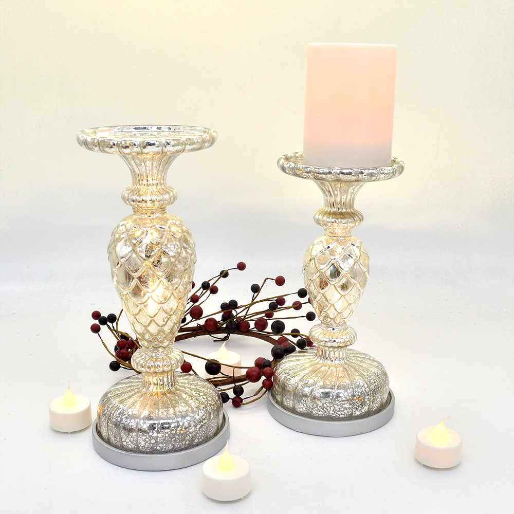 Silver Mercury Glass Pedestal Pillar Candle Holders Set of 2 | ChristmasTablescapeDecor.com