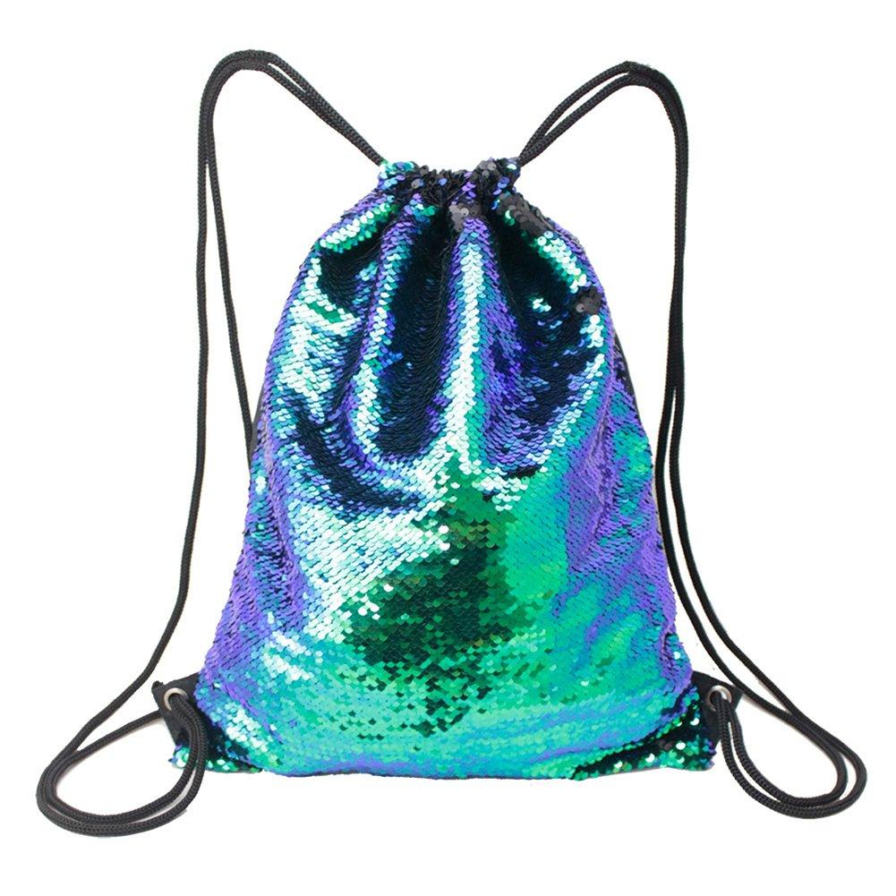 Glitter Reversible Sequins Drawstring Bag Double Color String Backpack Shoulder Bag for Travel,Gym,School,Beach