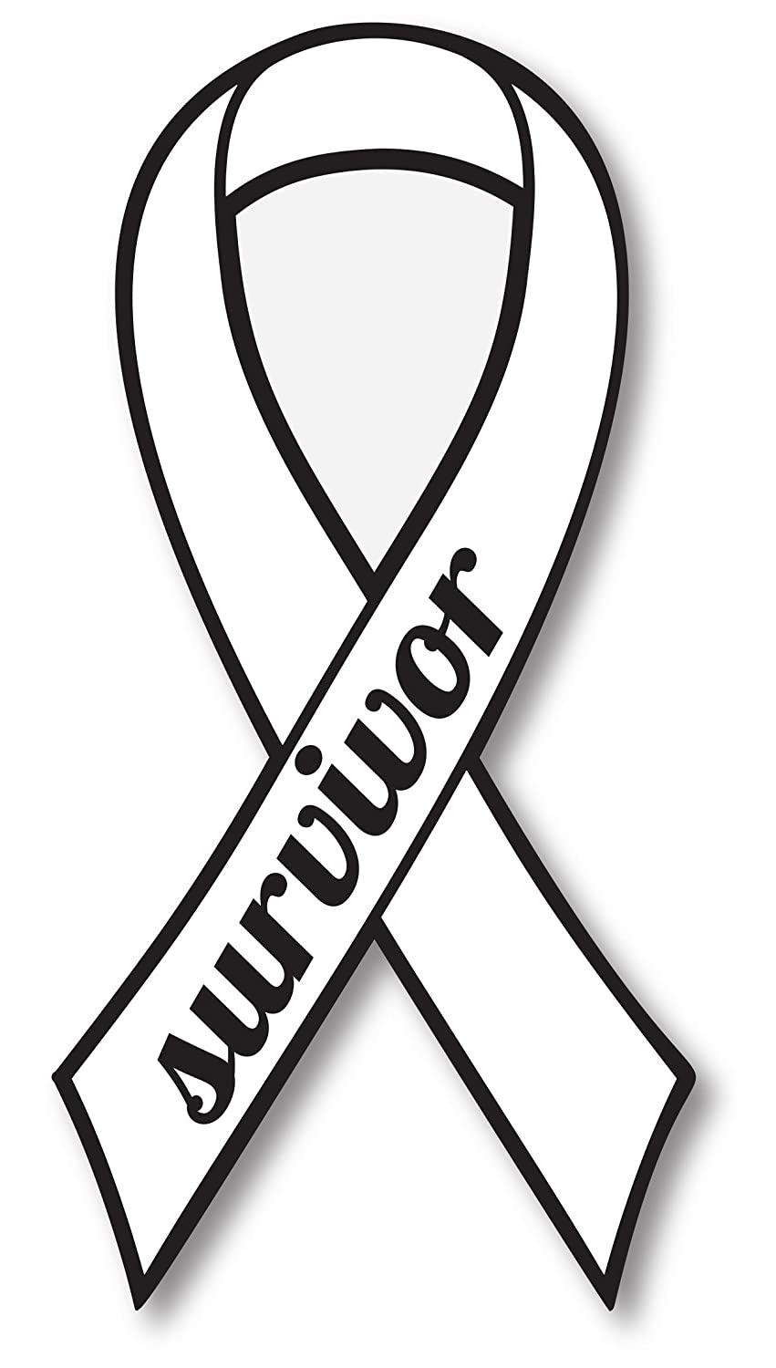 White Lung Cancer Survivor Ribbon Car Magnet Decal Heavy Duty Waterproof