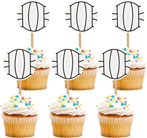 iMagitek 48 Pack Volleyball Cupcake Toppers Decorations for Volleyball Theme Party, Birthday Party, Baby Shower