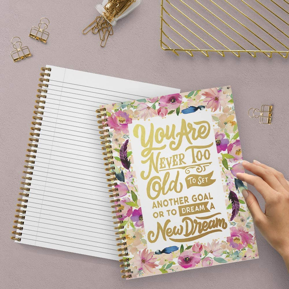 Durable Gloss Laminated Cover Softcover Never Too Old 8.5 x 11 Motivational Spiral Notebook//Journal 120 College Ruled Pages Made in the USA Gold Wire-o Spiral