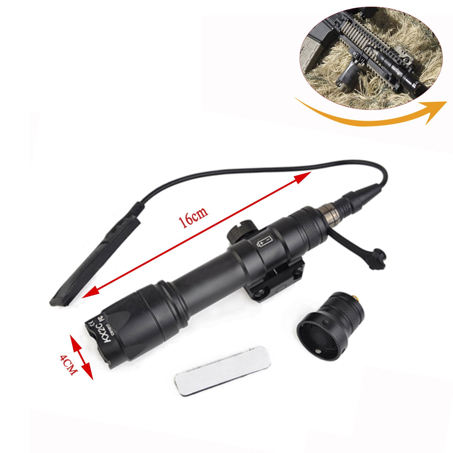 Element Airsoft Aluminum WeaponLights LED Full Version With Remote Pressure For 20mm Rail (EX072) (Black)