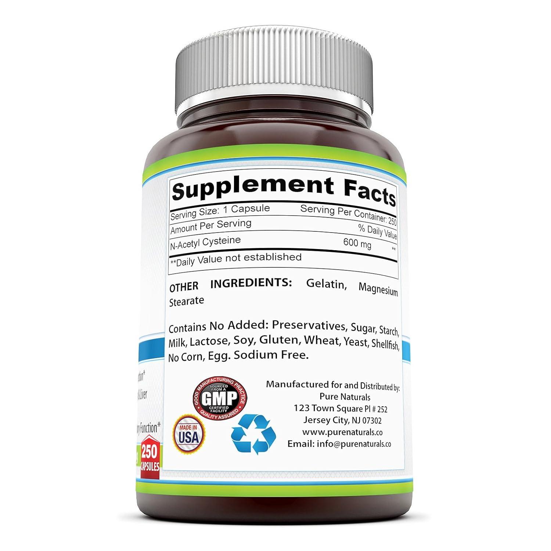 Pure Naturals NAC 600 mg 250 Capsules by Pure Naturals: Amazon.es: Salud y cuidado personal