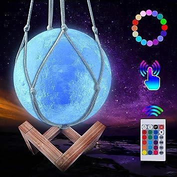 3D-Leuchte 16 Farben RGB Nachtlicht Mond LED Lampe Gro/ß 15 cm Fernbedienung USB Intensit/ät w/ählen Nachtlicht Ambiente Lampe f/ür Kinder Baby Party Geschenk Dekoration