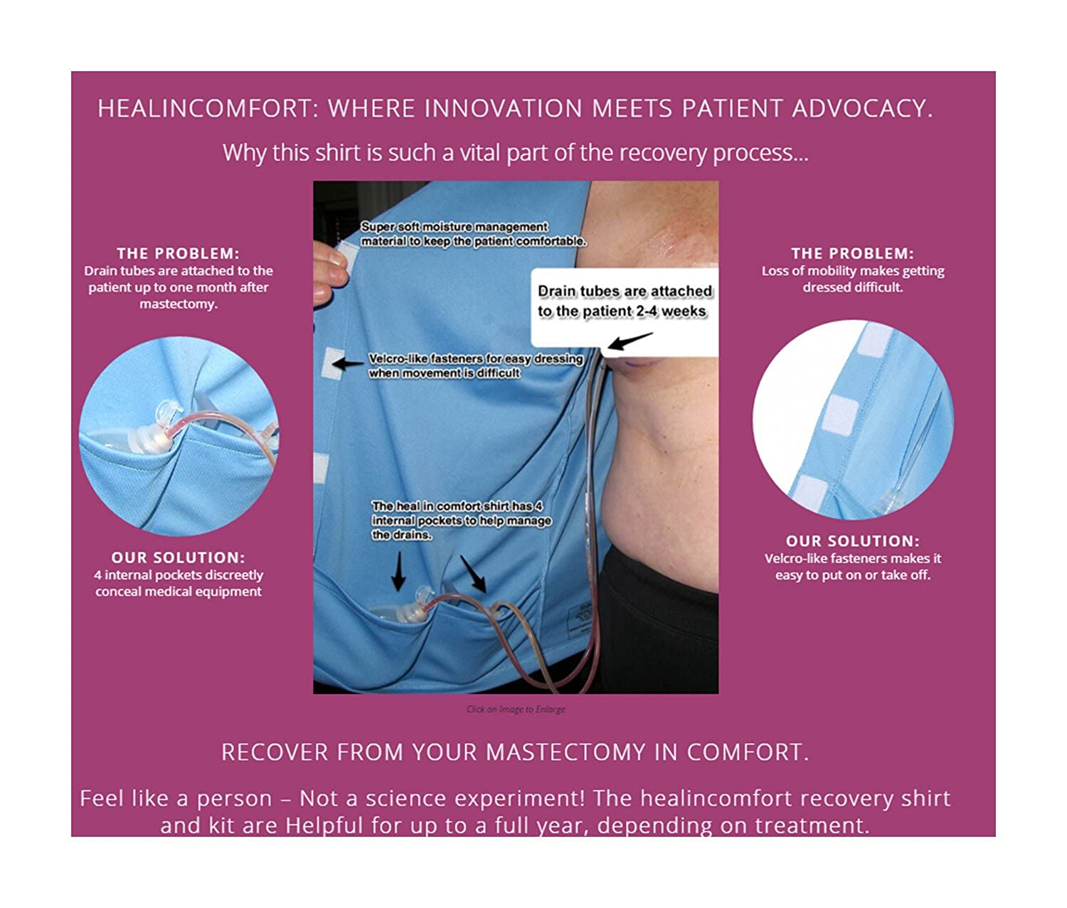 b64e5cea Heal in Comfort Women Breast Cancer Mastectomy Shirt Post-Surgery Drain  Pockets at Amazon Women's Clothing store: