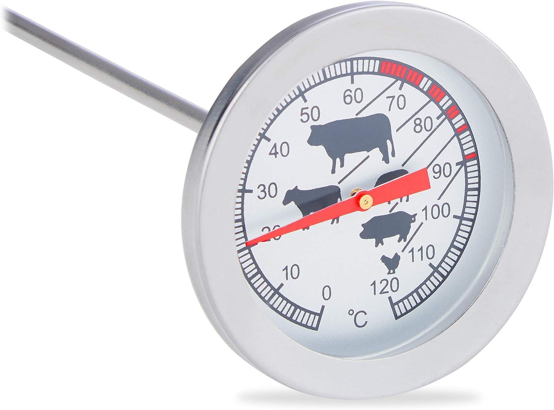 Relaxdays Einstichthermometer analog, Braten Grillthermometer, Edelstahl Fleischthermometer, 20 cm Termómetro de cocina, Analógico, Punción, Acero inoxidable, plata