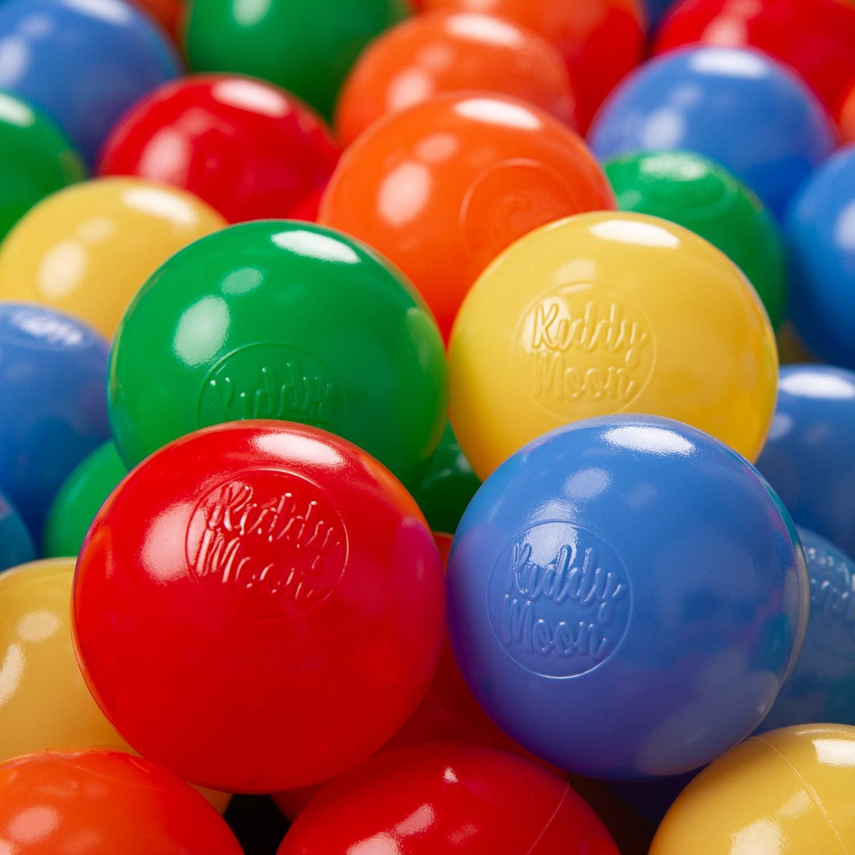 KiddyMoon Bolas Colores para Piscina Plástico ∅ 6Cm Niños Infantil Fabricado UE, Amarillo/Verde/Azul/Rojo/Naranja,300 Bolas/6Cm