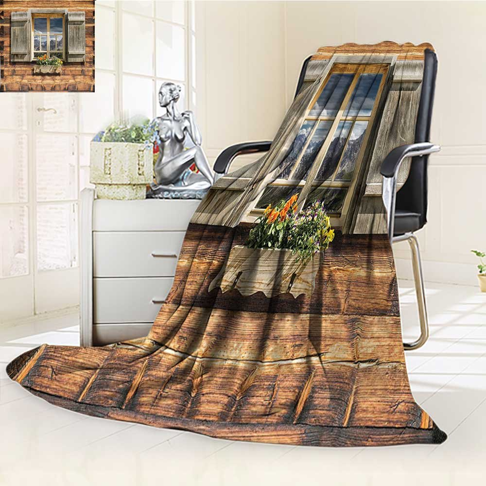 YOYI-HOME Super Soft Duplex Printed Blanket of A Mountain Hut with Summer Mountain Reflections On Window Glass Brown Green Anti-Static,2 Ply Thick,Hypoallergenic/W79 x H59