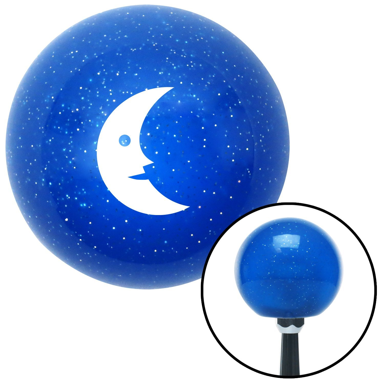 American Shifter 24848 Blue Metal Flake Shift Knob White Crescent Moon