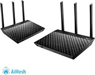 ASUS AiMesh WiFi System AC1900 - Kit de Dos RT-AC67U en Red Mesh Dual-Band AC1900 (AiProtection Pro, QoS Adaptativo, Mesh Roaming, Triple VLAN)