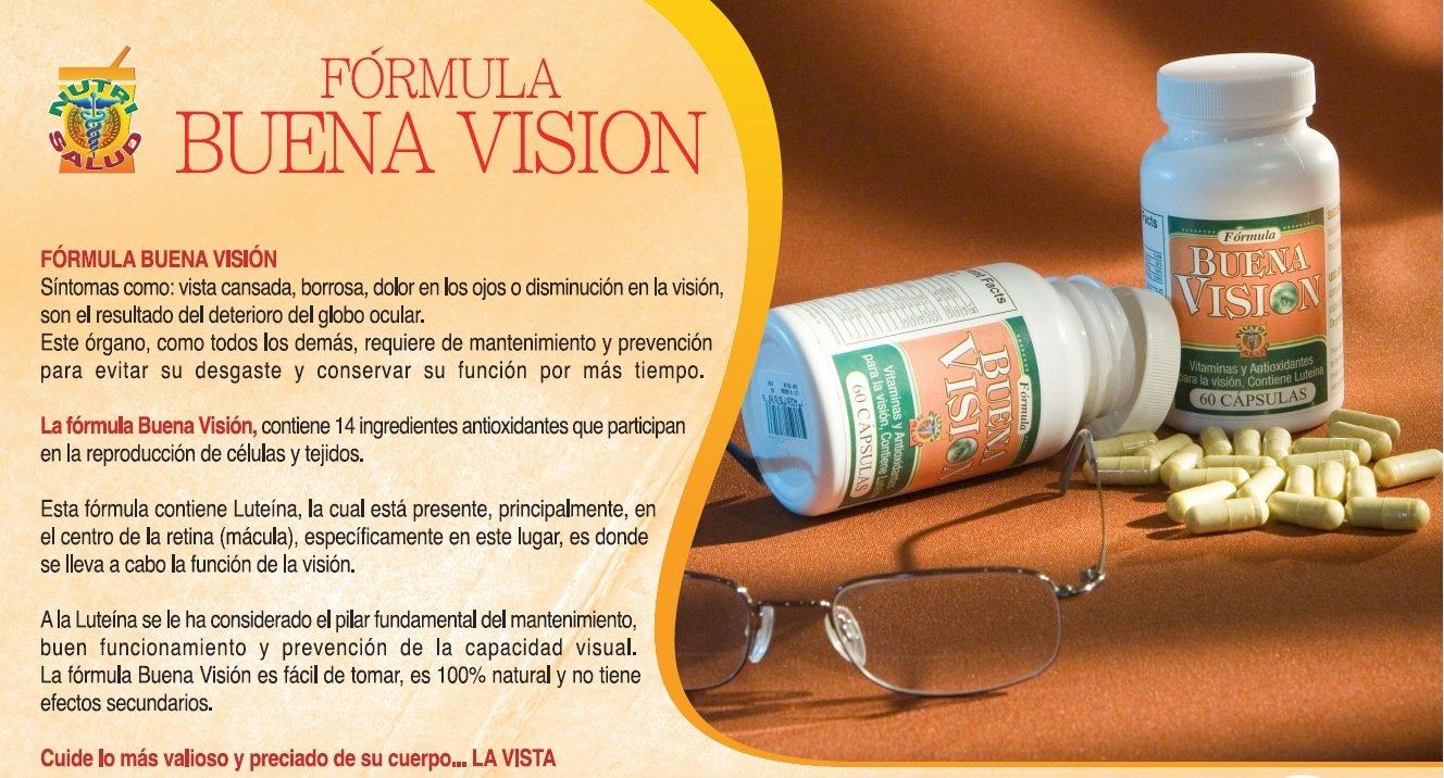 Amazon.com: Capsulas Naturales Buena Vision, tratamiento para la vista cansada, borrosa, dolor en los ojos o disminucion en la vision. Contienen Luteina.