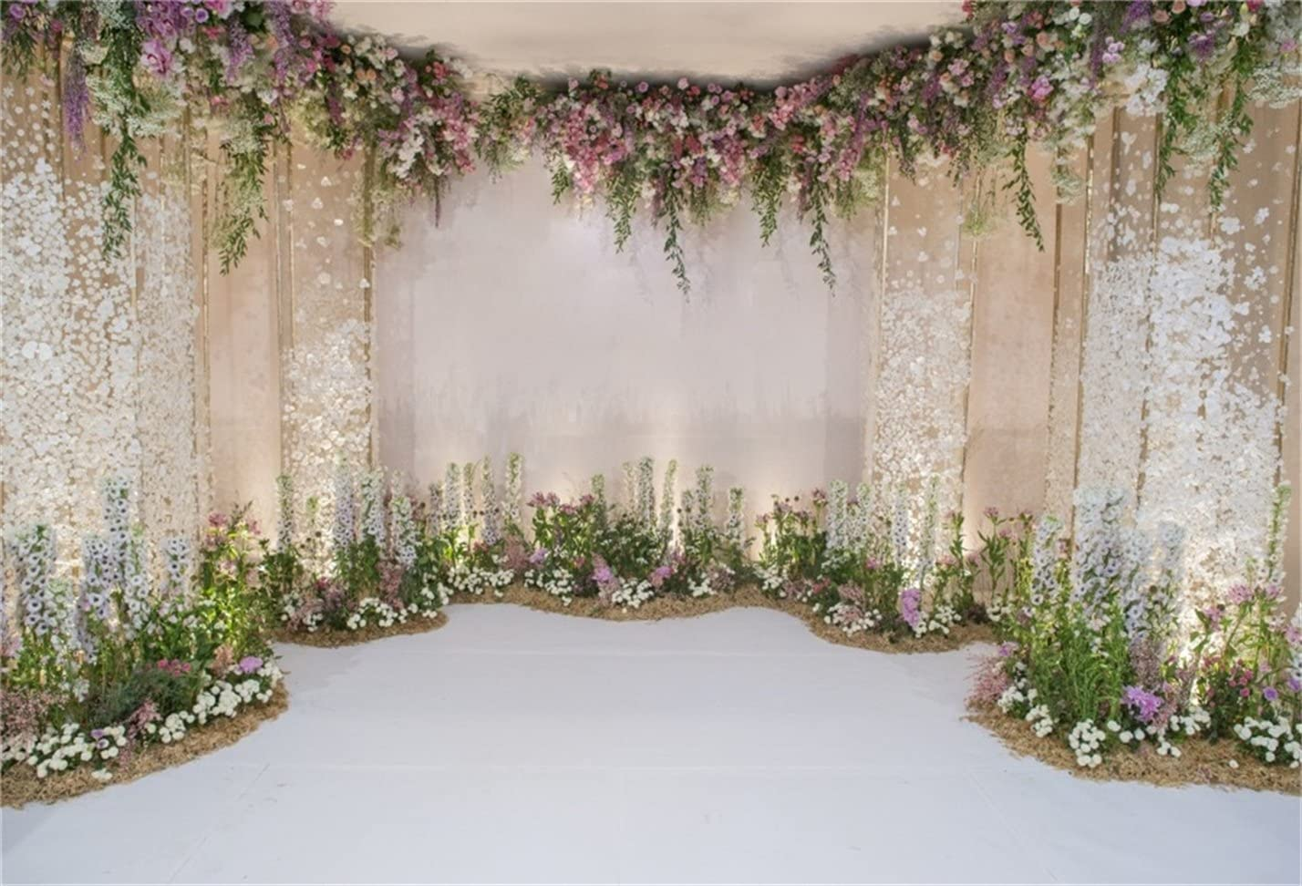 CSFOTO 10x7ft Wedding Backdrop Wedding Ceremony Bridal Shower Background for Photography Romance Ceremony White Anniversary Floral Marriage Photo Wallpaper