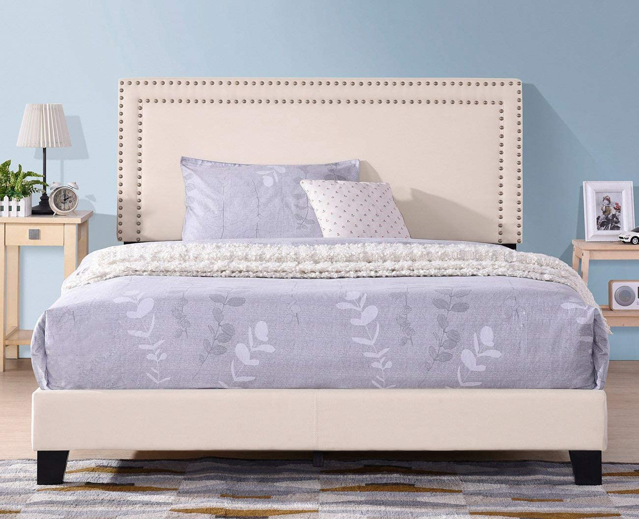 Upholstered Bed Frame Queen Size,JULYFOX Low Profile Platform Bed with 50 inch High Oxford Nailed Headboard Footboard Heavy Duty Box Spring Needed Contemporary Fabric Bed Frame-Beige