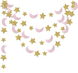 Moon and Star Garland Twinkle Twinkle Little Star of 2pcs Pink Gold Princess Birthday Party Decorations Pink Gold Moon Star Baby Shower Decorations 1st Birthday Garland Love You to the Moon and Back