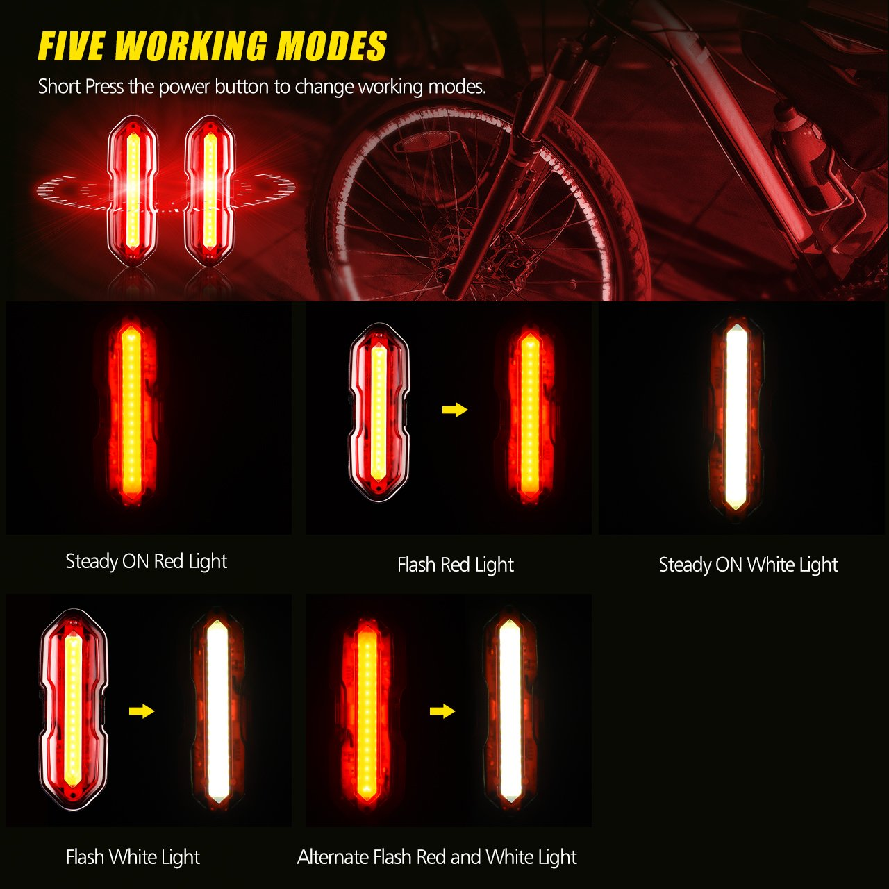 USB Rechargeable Water Resistant Ultra-Bright Bike Taillights Bike Rear Light with 5 Light Modes LED Bicycle Light 2 Packs Fits On Any Road Bikes TOPELEK Bike Lights