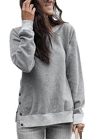 pretty nice f76b1 3f18c Yieune Pullover Damen Sweatshirt Warm Tuniken Bluse Elegant Rundhals Casual  Oberteile Langarmshirt