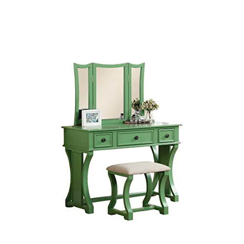 Poundex Bobkona Edna Vanity Set with Stool, Apple Green - Antique Vanity Set: Amazon.com