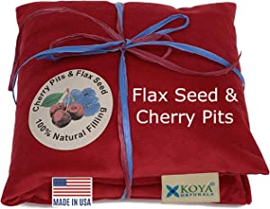 KOYA Naturals Soft Velvet Flax Seed & Cherry Pit Pillow - Heating Pad Microwavable – Moist Heat Pack Pad - for Neck, Muscle, Joint, Stomach Pain, Menstrual Cramps - Warm Compress Neck Wrap